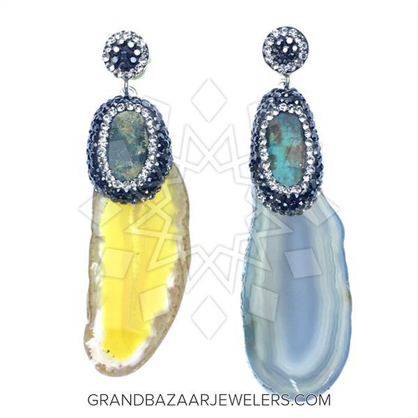 Agate Slice Druzy Earrings