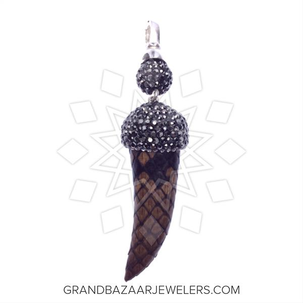 Python Leather and Crystal Pendant