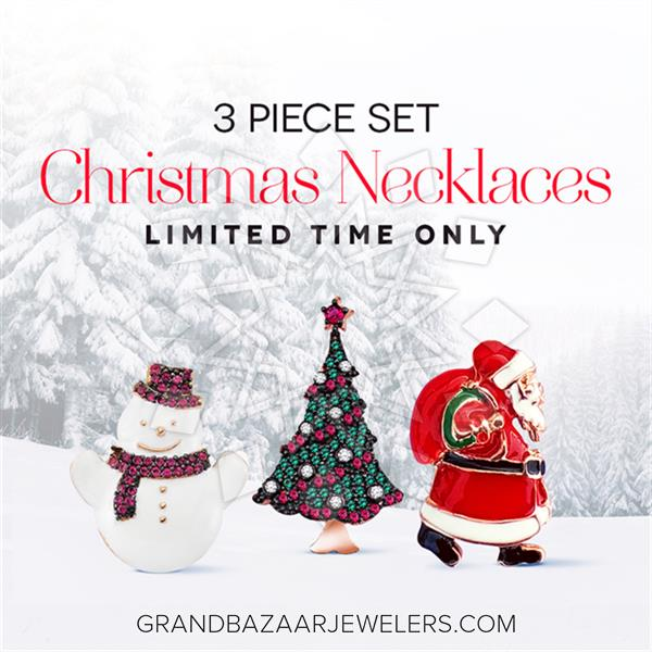 Classic 925 Sterling Silver Christmas Necklace Set