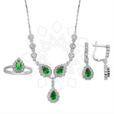 Color Gemstone Silver Jewelry Sets