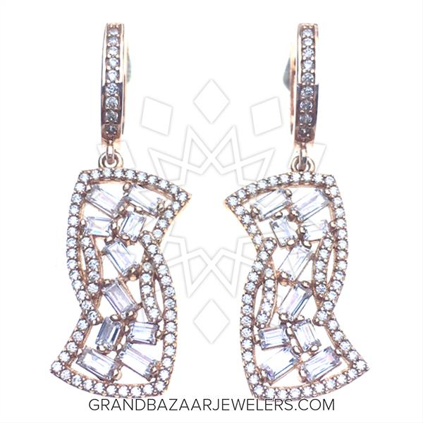 Designer Baguette 925 Silver Earings