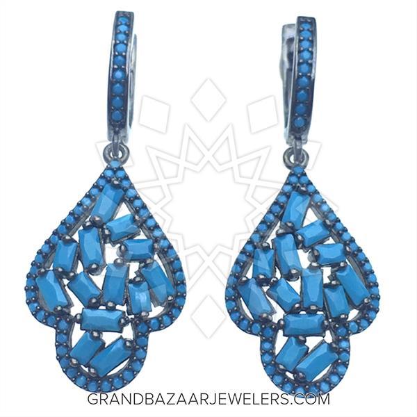 Designer Baguette 925 Silver Earrings