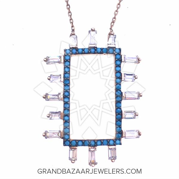 Designer Baguette 925 Silver Necklace