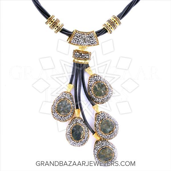 Multi Station Gemstone Leather Necklace