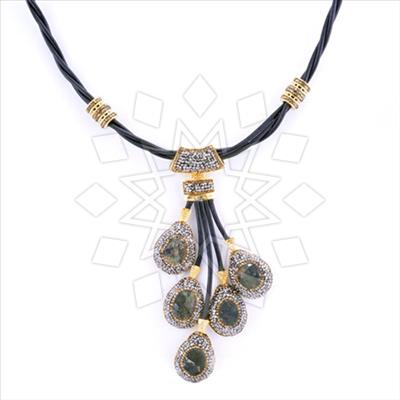 Multi Station Gemstone Leather Necklace