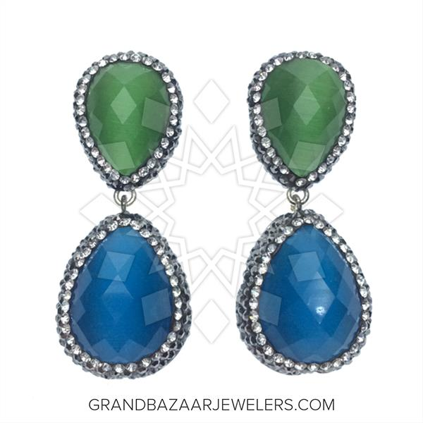 Double Drop Gems and Crystal Earrings