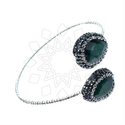 Double Gems with Crystal Trim Bracelets