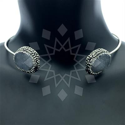 Double Gems with Crystal Trim Necklace