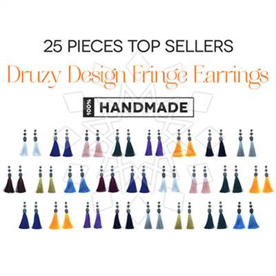 Druzy Design Fringe Earrings 25 Mixed