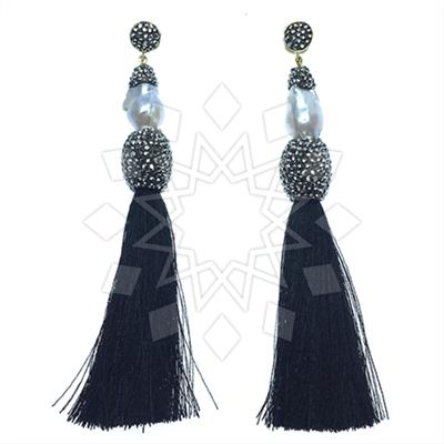 Druzy Design Fringe Earrings