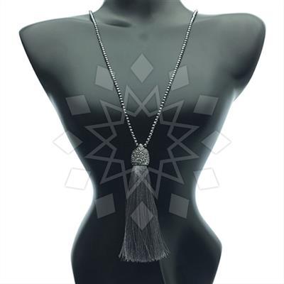 Druzy Design Fringe Necklace