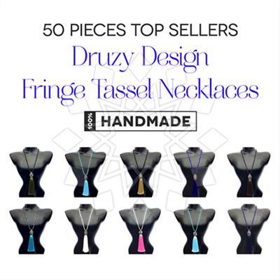 Druzy Design Fringe Tassel Necklaces 50 Mixed
