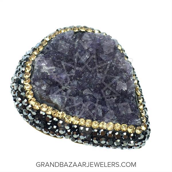 Druzy Raw Crystal Gemstone Rings