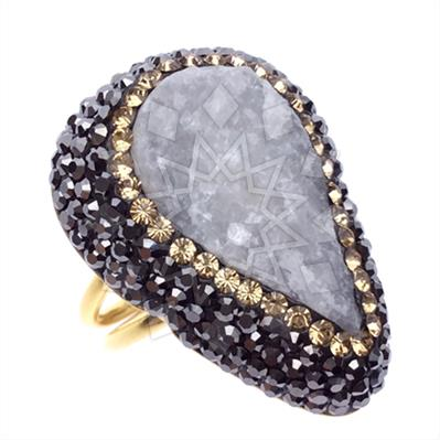 Druzy Raw Crystal Gemstone Rings