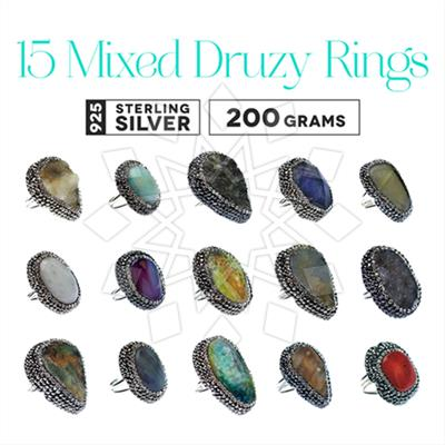 Gem and Crystal Artisan Silver Rings 15 Mixed