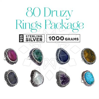 Gem and Crystal Artisan Silver Rings 80 Pack