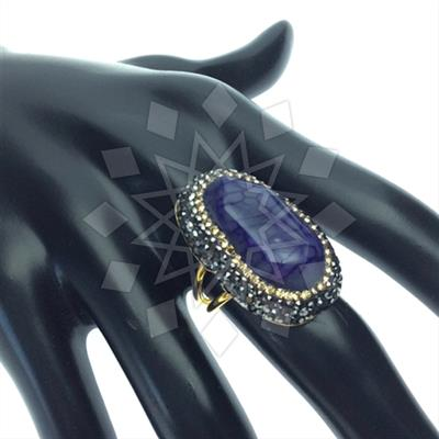 Agate Slice Druzy Rings