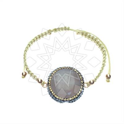 Gem and Crystal Macrame String Bracelet