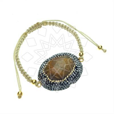 Gem and Crystal Macrame String Bracelets