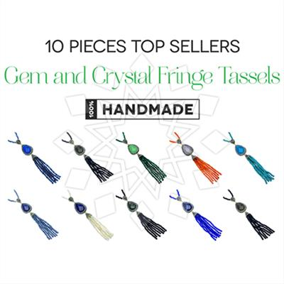 Gem and Crystal Tassel Fringe Necklaces 10 Mixed