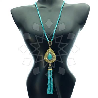 Gem and Crystal Tassel Fringe Necklace