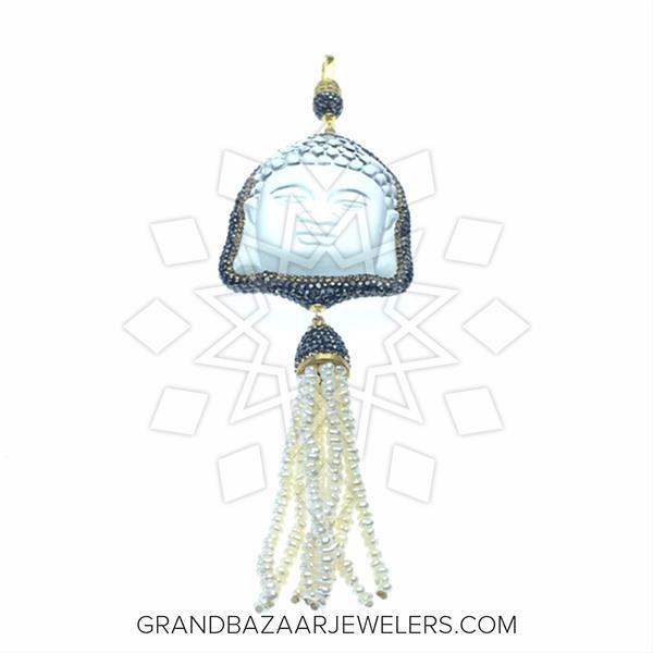 Gem and Crystal Tassel Fringe Pendant