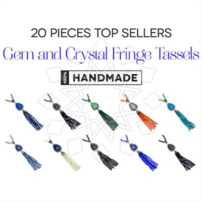 Gem and Crystal Tassel Fringe Necklaces 20 Mixed