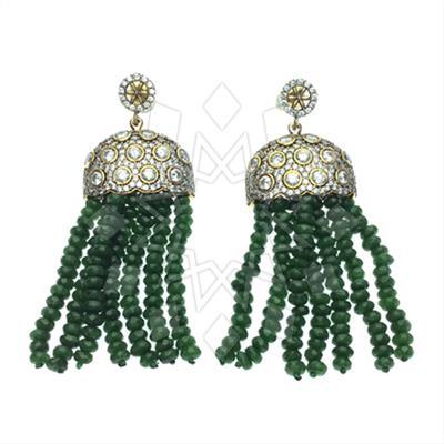 Long Beaded Gemstone Tassel Earrings