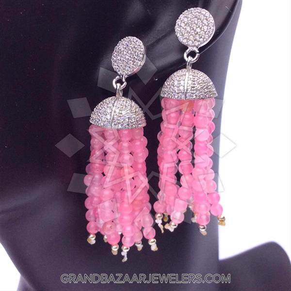 Beaded Gemstone Silver Earrings