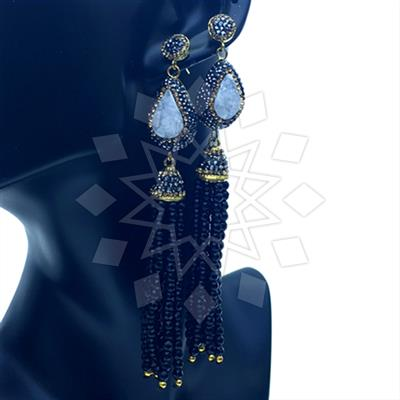 Gem and Crystal Tassel Fringe Earrings