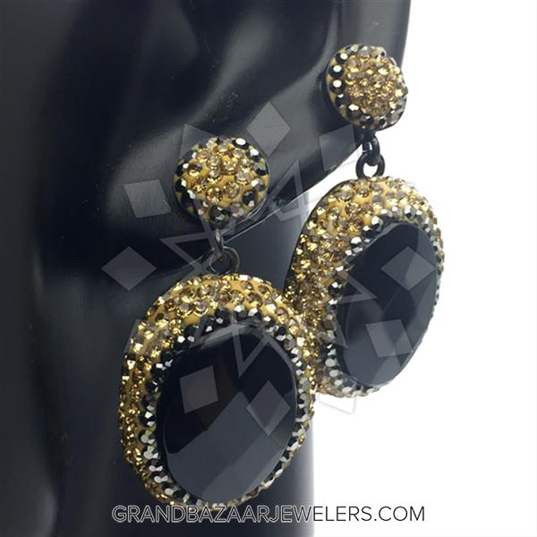 Gold and Grey Crystal Earrings
