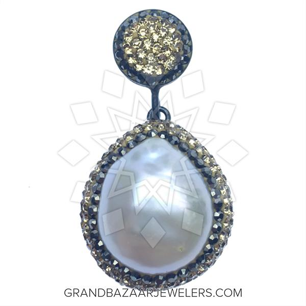 Gold and Grey Crystal Pendant