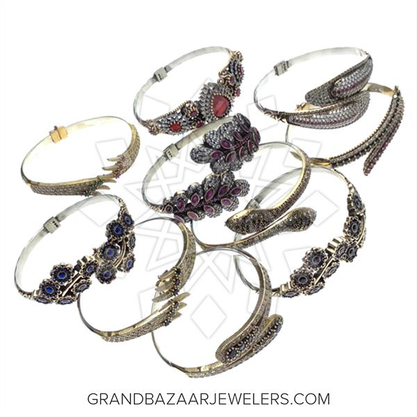Grand Bazaar Turkish Silver Bracelets 10 mixed