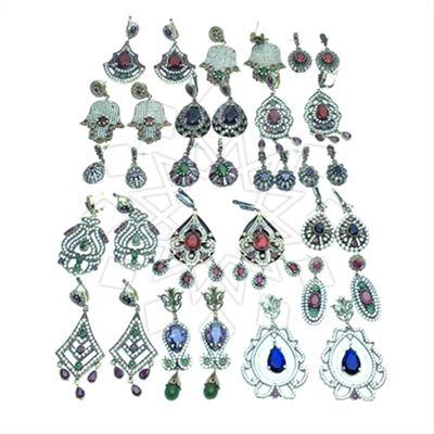 Grand Bazaar Turkish Silver Mixed Earrings 17 pairs