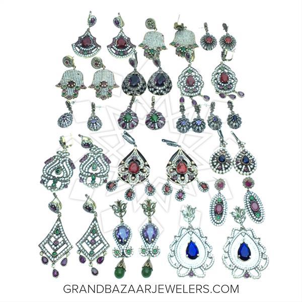 Grand Bazaar Turkish Silver Mixed Earrings 17 pairs