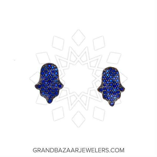 Hamsa Hand of Fatima Silver Earrings
