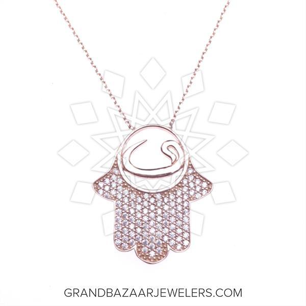 Hamsa Hand of Fatima Silver Necklace