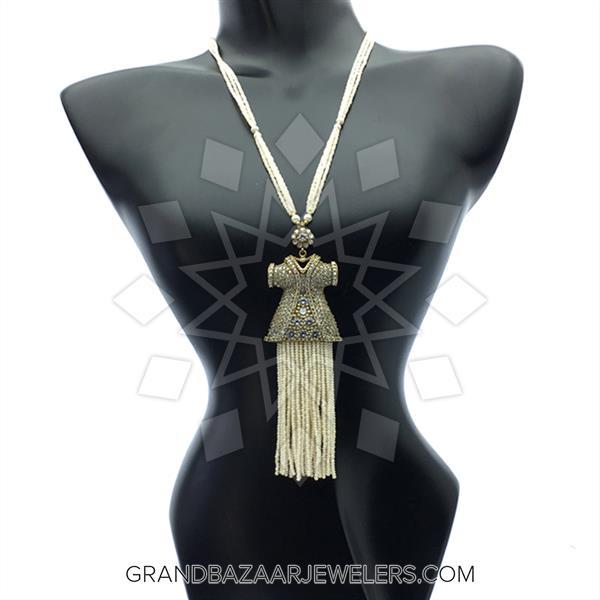 Long Beaded Gemstone Tassel Necklace