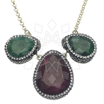 Multi Station Gemstone Necklace