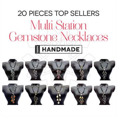 Multi Station Gemstone Necklaces 20 Mixed
