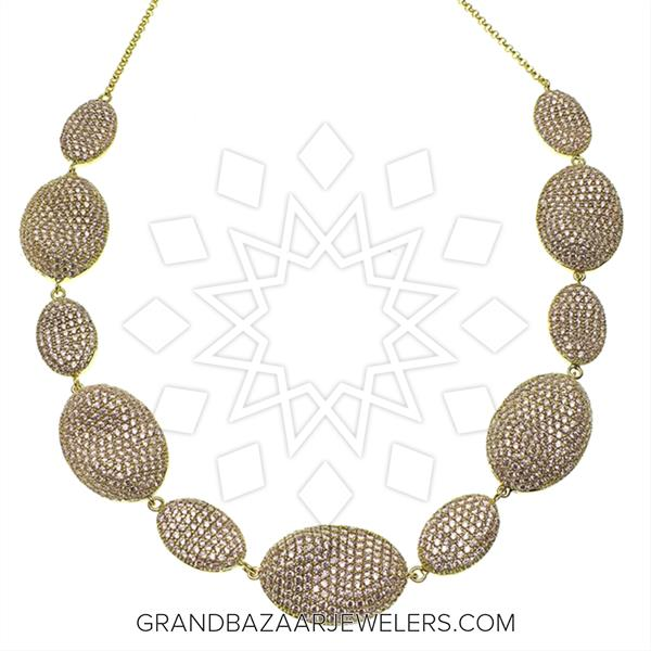 Pave Shapes Color Gemstone  Necklace