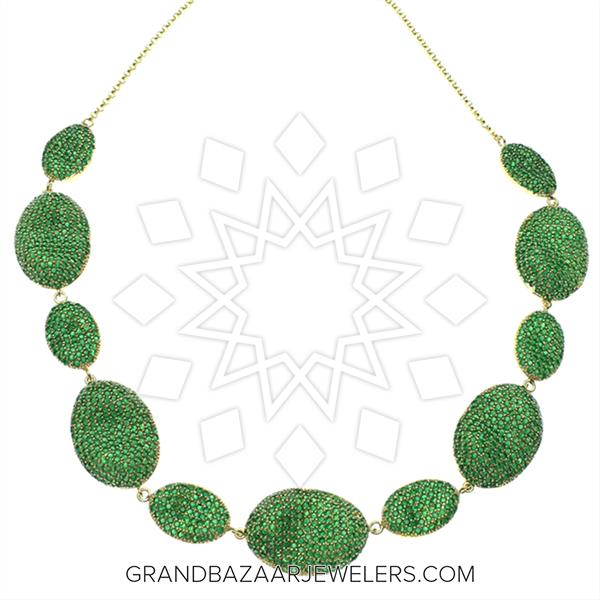 Pave Shapes Color Gemstone  Necklace