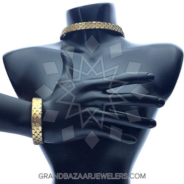 Python Leather and Crystal Bracelet, Necklace
