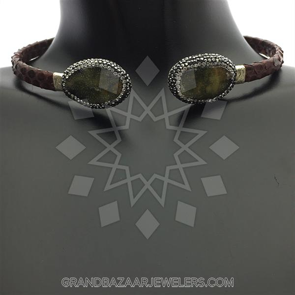Python Leather and Crystal Necklace