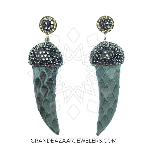 Python Leather and Crystal Earrings