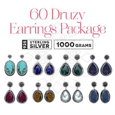 Single Drop Gem and Crystal Earrings 60 Pack