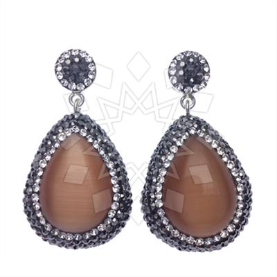 Single Drop Gem and Crystal 200 Earrings