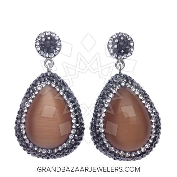 Single Drop Gem and Crystal 200 Earrings