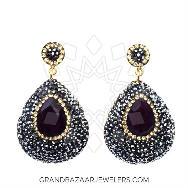 Geometric Druzy Jewelry Earrings