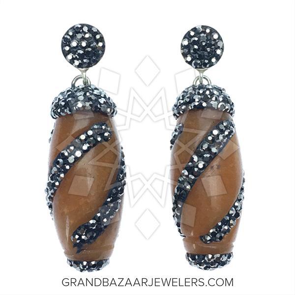 Single Drop Gem and Crystal Earrings